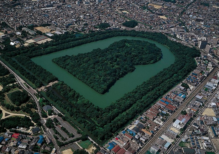 Fig. 11 - The largest kofun in Japan: Daisenyama, Osaka prefecture, attributed to the 5th century Emperor Nintoku