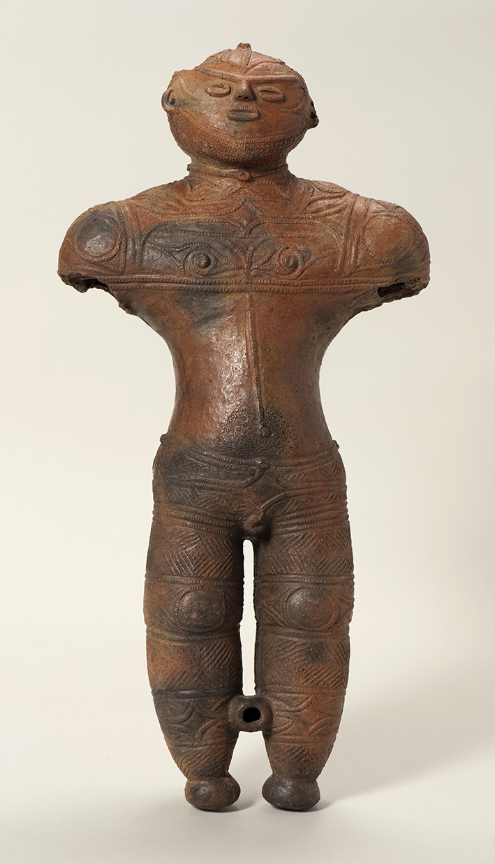 Fig. 03 -Hollow dogu from Chobonaino, Hokkaido. Late Jomon c. 1500-1000 BC. 41.5 centimetres high. National Treasure.