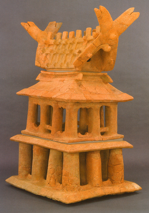 Fig. 13 - A model house haniwa from Imashirozuka-kofun, Osaka prefecture, of the Late Kofun period (6th century) . Height 132 cms