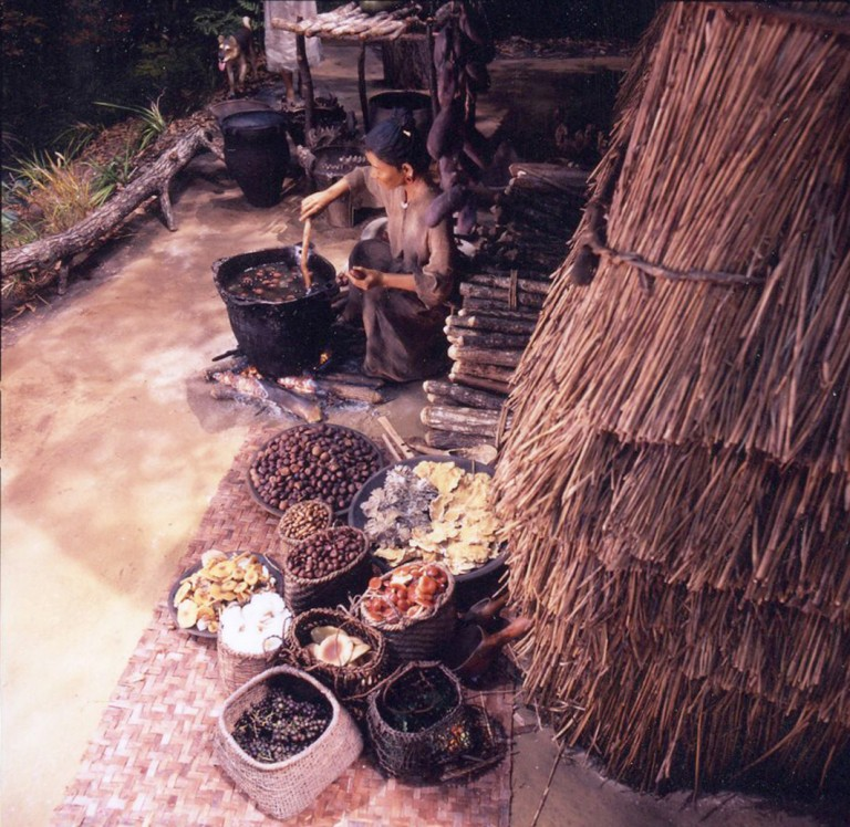 Fig. 15 - A reconstructed cooking scene at a Jomon settlement