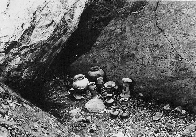 Fig. 17 - Offerings of pottery and other objects were made to the deities of the sacred island of Okinoshima.